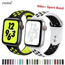 Силиконовый ремешок для Apple watch band 44 мм/40 мм iWatch band 42 мм/38 мм дышащий спортивный браслет ремешок для Apple watch 5 4 3 2