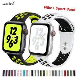 Силиконовый ремешок для Apple watch band 44 мм/40 мм iWatch band 42 мм/38 мм дышащий спортивный браслет ремешок для часов Apple watch 5 4 3 2