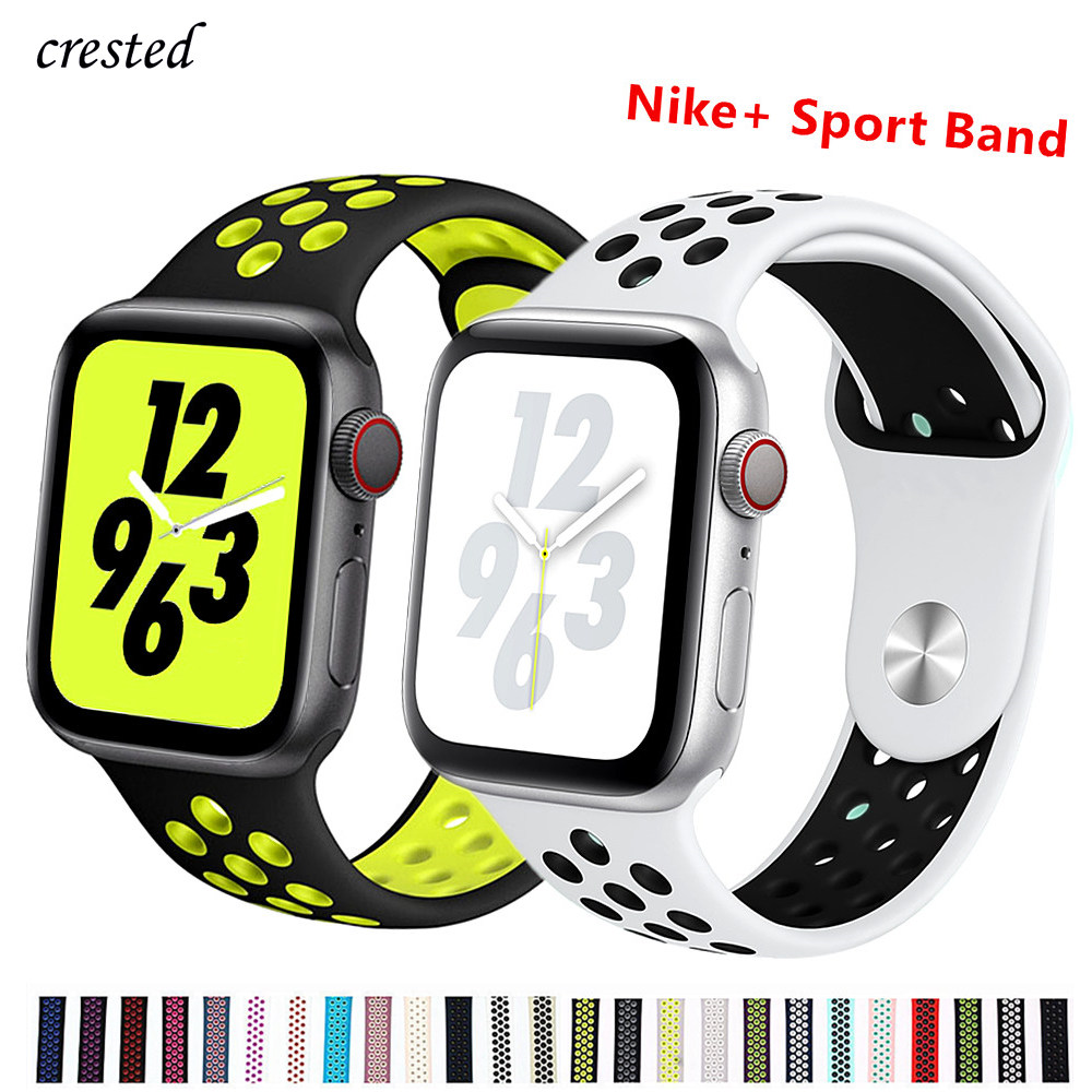 Silicone strap for Apple watch band 44 mm/40mm iWatch band 42mm/38mm Breathable Sport bracelet watchband For Apple watch 5 4 3 2|strap for apple watch|silicone strap|rubber watchband - title=