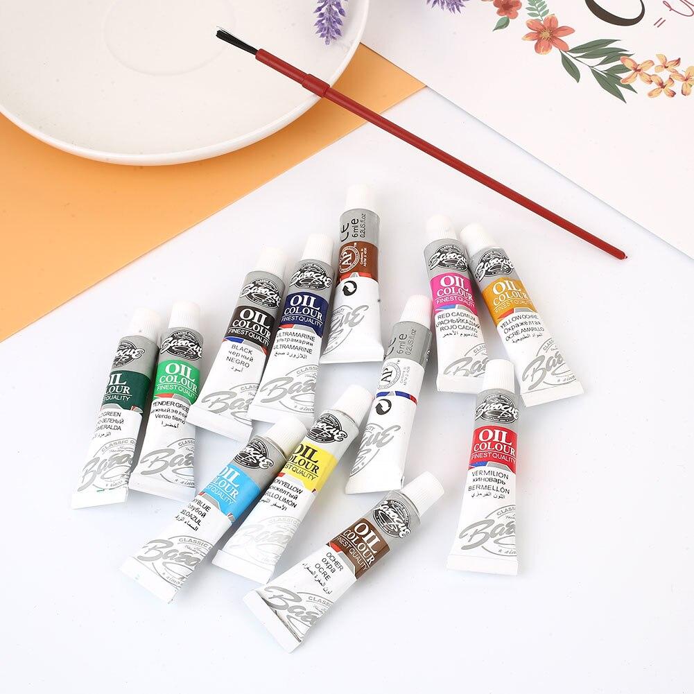 Кисти для живописи маслом 12 цветов с кистью Швейные аксессуары Рисование товары для рукоделия 6 мл 1 Набор Рисование пигмент художника