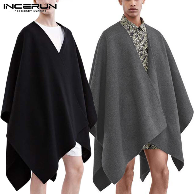INCERUN Autumn Casual Men's Long Cardigans Coats Loose Couple Jackets Fashion Trend Joker Windbreaker Men Sleeveless Cape Cloak