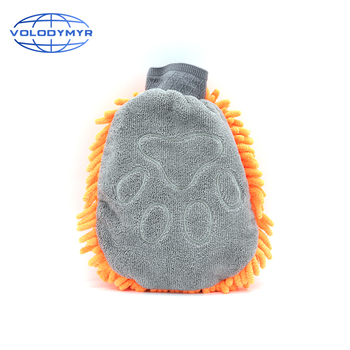 Wash Mitt Orange and Gray Bear Paw Shaped Chenille Microfiber Glove Window Cleaner Pro for Car Cleaning Auto Detailing Detail