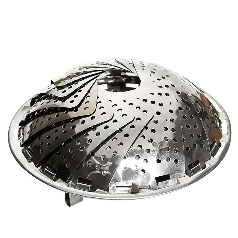 Steamer Stainless Steel Folding Fruit Bowl Steamer Drain Tray Retractable Multi-function Vegetable Fruit Steamer Basket