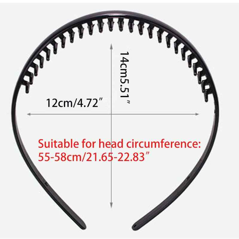 8mm plastikowy zwykły pałąk z antypoślizgowym grzebień do zębami błyszczący czarny DIY do włosów Hoop 35EF
