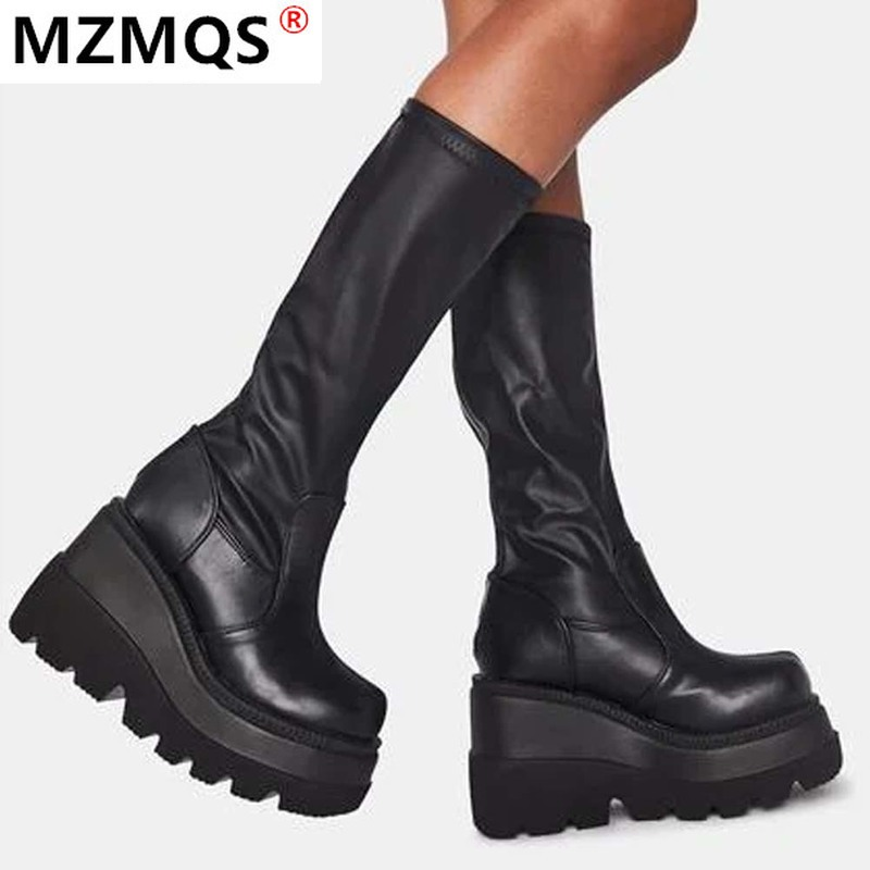 2020 New Ladies High Platform Boots Fashion Zip High Heels Boots Women Wedges Shoes Woman Casual Boots Heels Plus Size 35 43