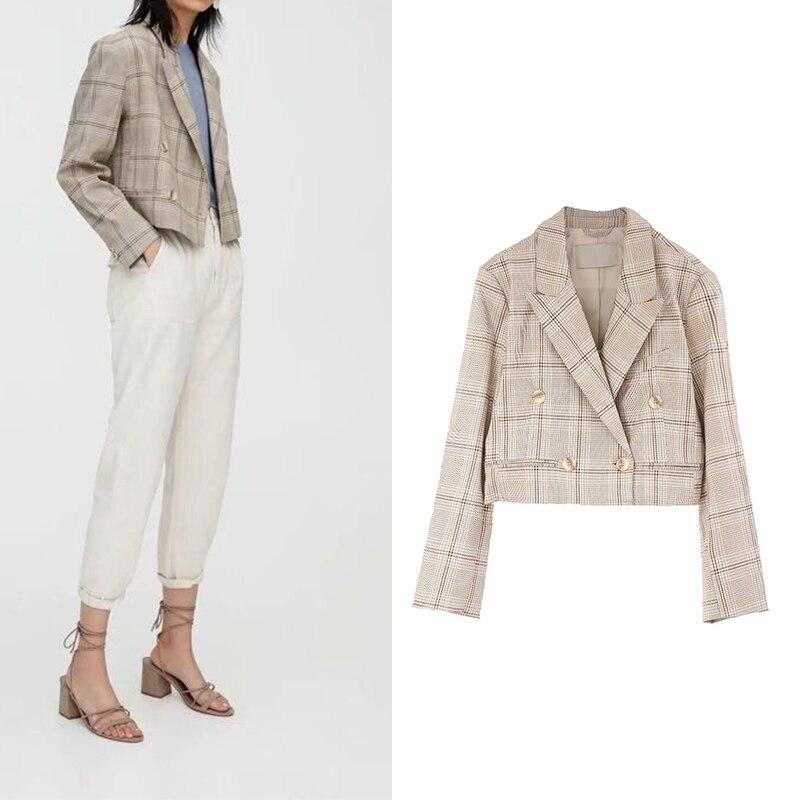 ZA 2019 Fashion Women Autumn New Elegant Wild Slim Short Suit Casual Retro Plaid Short Blazer Business Office Lady Wearing