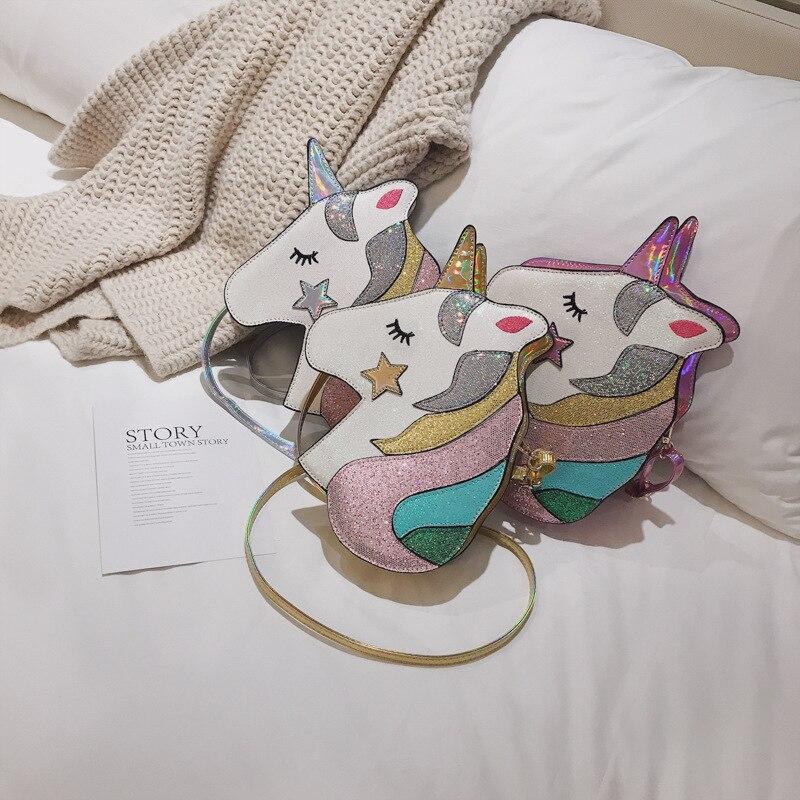 P-F sac 2019 été nouveau mon petit poney chaîne sacs à main dessin animé mignon licorne sac personnalité paillettes épaule Messenger sac