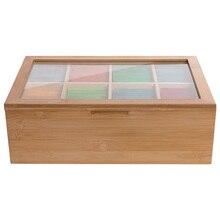 Новинка 12 дюймов деревянная коробка для чая 8 отсеков контейнер для хранения деревянный подарочный магазин экологичный многоцелевой Контейнер Чехол