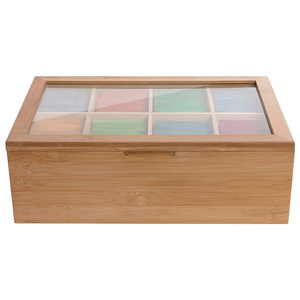 2020 New 12 Inch Wooden Tea Box 8 Compartments Storage Container Wood Gift Store Eco-Friendly Multifunctional Container Case(China)
