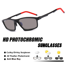 Photochromic Sunglasses Men Rectangle Anti Blue Lig