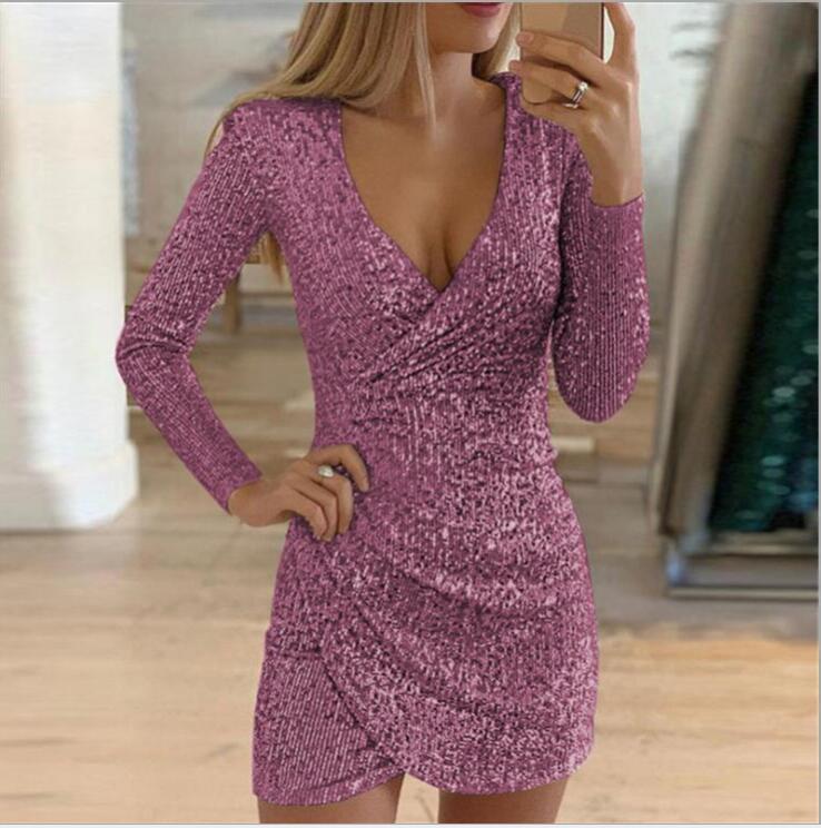 Sexy Silver Glitter Dresses for Women 2020 Deep V-Neck Sequin Mini Bodycon Dress Autumn Winter Long Sleeve Party Dress