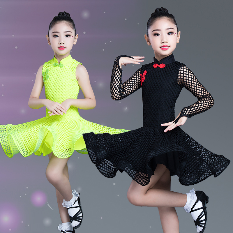 Classical Girls Latin Dance Costume Children Mesh Long Sleeved Competition Dresses Kids Ballroom Salsa Practice Clothes DL4266