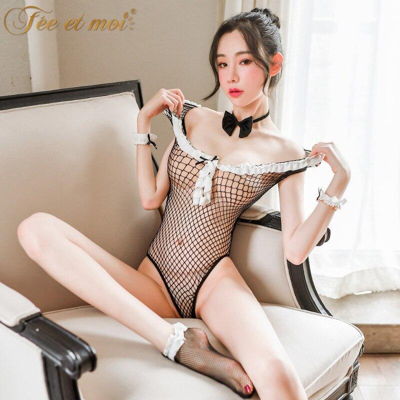 Hot Sexy Fishnet Bodysuit Bunny Girl Cosplay Uniform Sexy Erotic Lingerie font b lenceria b font
