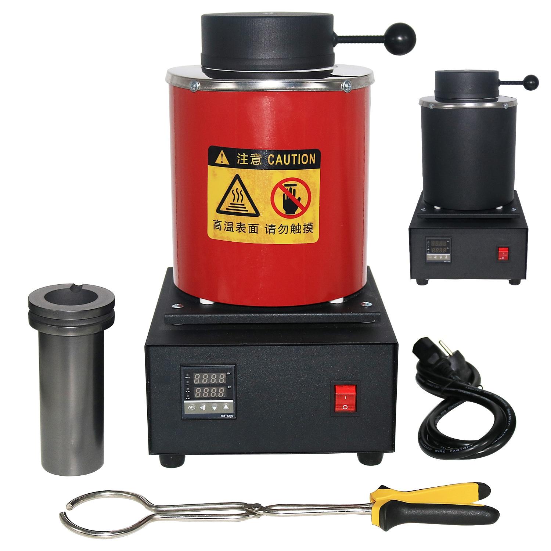 2KG Mini Melting Furnace, Metal Melting Furnaces, Small Melting Furnace Jewelry Casting Equipment & Tools 1400W 1100℃  220/110V