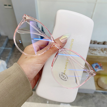 2021 Round Computer Glasses Anti Blue Light Glasses Blocking Men Women Super Light Frame Eyeglasses Pink Clear Spectacles image