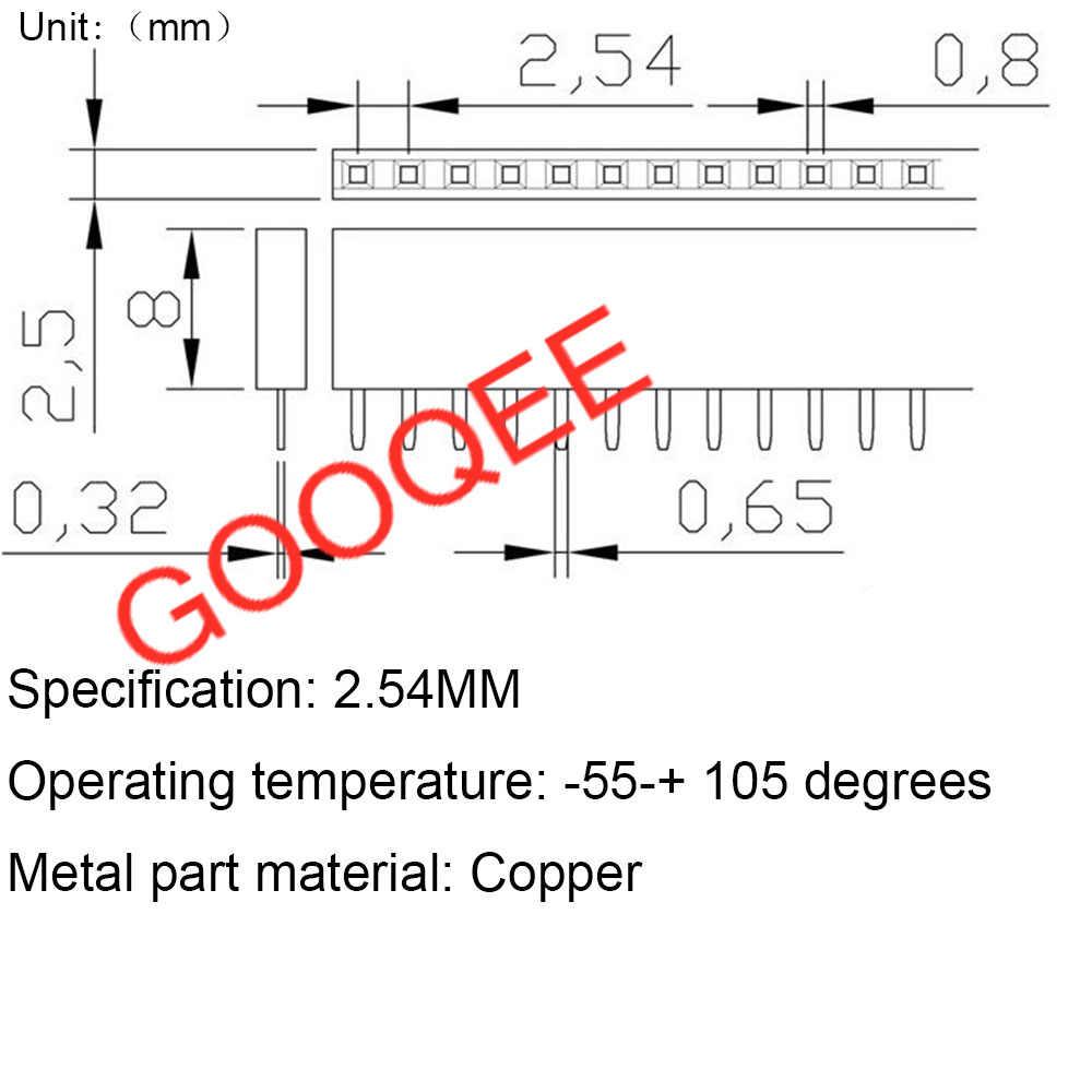 10PCS 2.54mm Single Row Female PCB Board Pin Header Connector Strip Pinheader 1x 2P 3 4 6 8 10 16 40P 1 pin Colourful socket