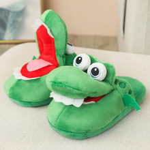 Cute Crocodile Home Slippers Crocodile Slippers That Will Move Your Mouth Creative Big-Eyed Crocodile Winter Cotton Drag