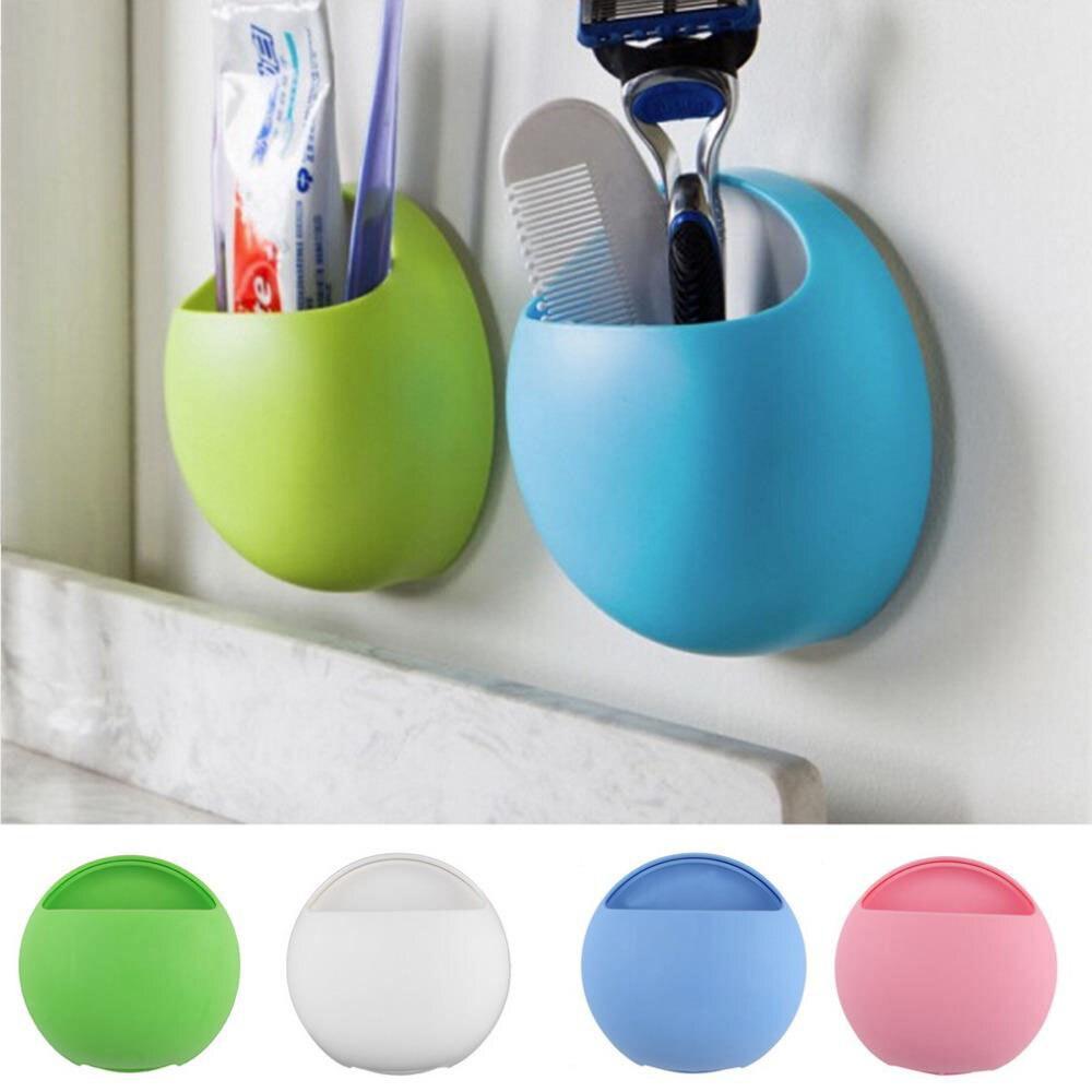 Küche Zubehör Kunststoff Wand Saug-Zahnbürste Halter Bad Zahnpasta Seife Rasierer Rack Veranstalter Regal