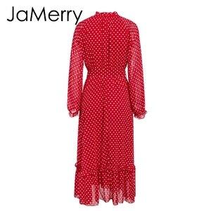 Image 4 - JaMerry Vintage otoño las mujeres largo maxi vestido elegante manga lantern dibujo de lunares vestidos de playa vestidos estilo