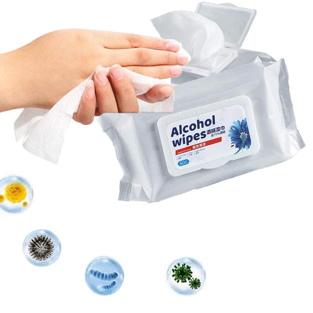 50Pcs/Bag Disposable Sterilization Disinfection Cleansing Alcohol Napkin Tissue