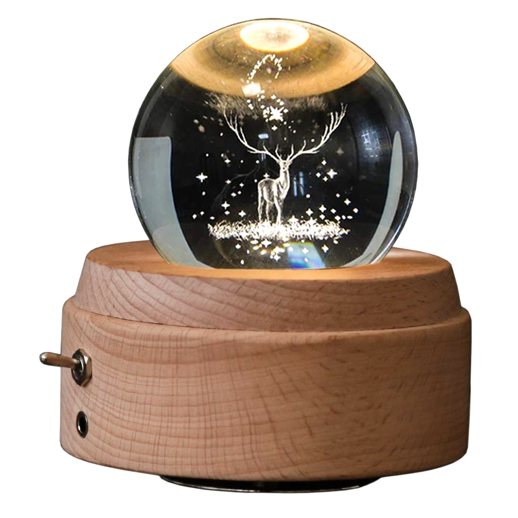 HOT-3D Crystal Ball Music Box The Deer Luminous Rotating Musical Box With Projection Led Light