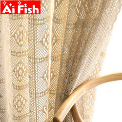 Retro Beige Crochet Lace Hollow Crochet Flower Sheer Curtain For Living Room American Rustic White Handmade Curtain Tulle M181#4