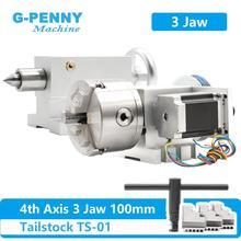 100mm CNC 4th eksen + punta, CNC bölme kafası/dönüş ekseni/A eksen kiti Mini CNC router/gravür ağaç İşleme gravür