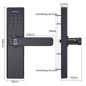 Image 3 - RAYKUBE Wifi elektroniczny zamek do drzwi z aplikacją Tuya zdalnie/biometryczny odcisk palca/karta inteligentna/hasło/klucz odblokuj FG5 Plus
