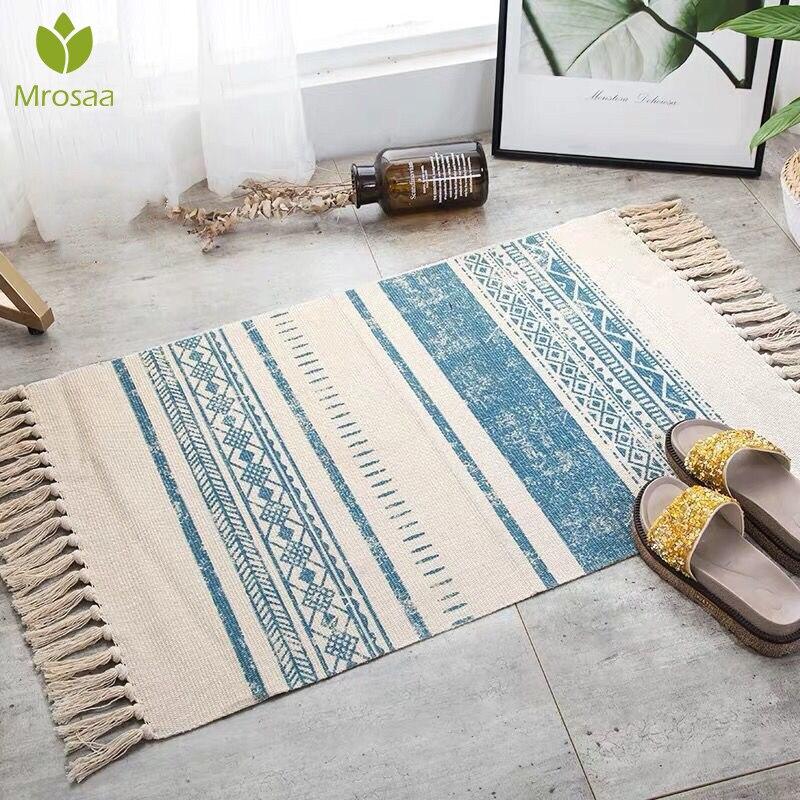 High Quality 60*90CM Retro Bohemian Hand Woven Cotton Linen Carpets Tassel Bedside Rug Geometric Floors Mats Bedrooms Home Decor