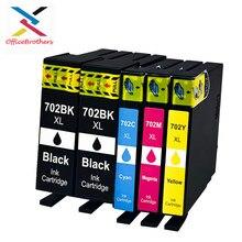 5 шт в упаковке совместимый чернильный картридж для Epson702 702XL 702 XL T702XL для Применение с рабочей силы Pro WF-3720 WF-3730 WF-3733 струйный принтер