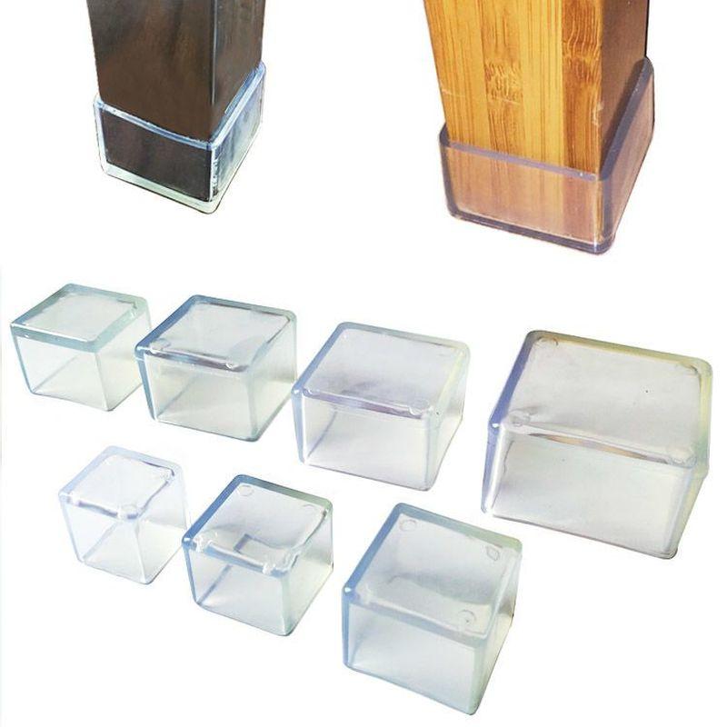 4Pcs Transparent Chair Leg Caps Non-slip Furniture Table Floor Feet Cover Protector Pads Rubber Furniture Hole Plugs Home Decor