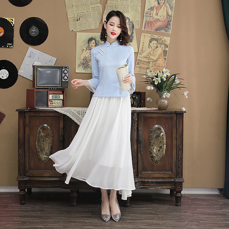 Sheng Coco Ladies China Sytle Sets Chiffon <font><b>Skirt</b></font> And Qipao Blouse Suits Lotus Sleeve Cheongsam Tops Chinese Style Tea Clothes image