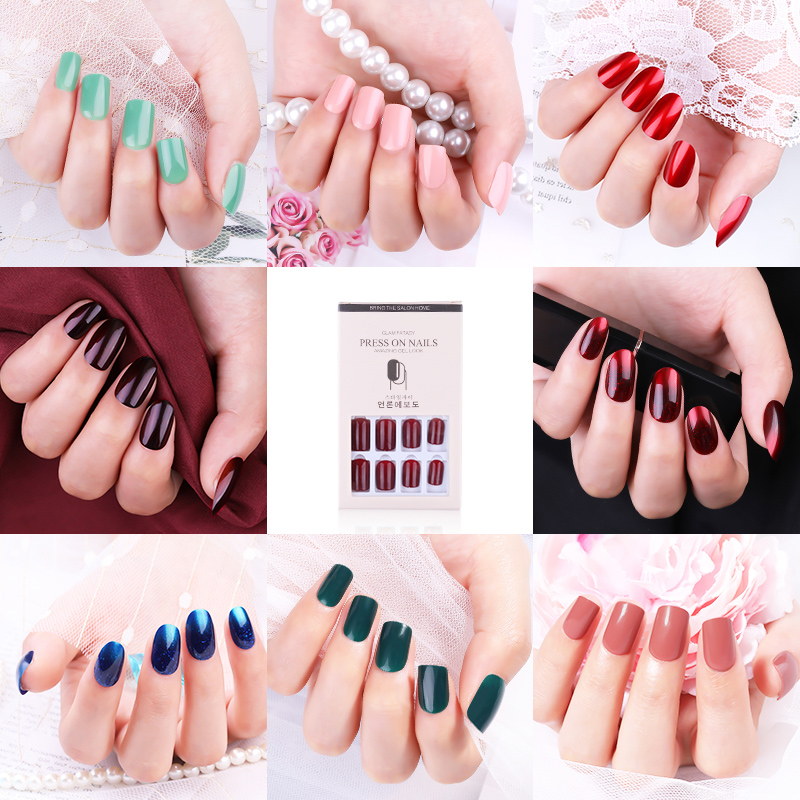 12PCS Reusable Fake Nail Decoration Tips With Sticker for Long False Press On Art Artificial Manicure Extension Tip
