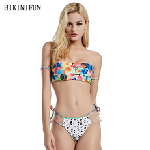 New Strapless Bandeau Bikini Women Swimsuit Floral Print Bathing Suit S-XL Girl Two Sides Wear Swimwear Backless Mini Set