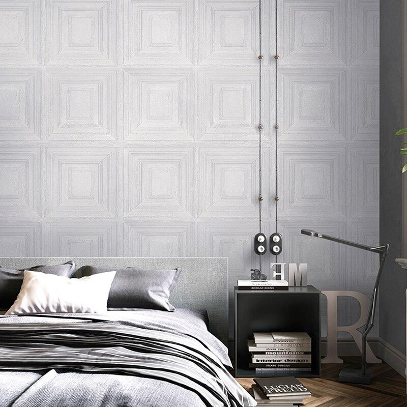 Retro Nostalgia 3D Wood Panel Wallpaper Lattice Gray Living Room Bedroom Restaurant Clothing Store PVC Waterproof Wallpaper Roll