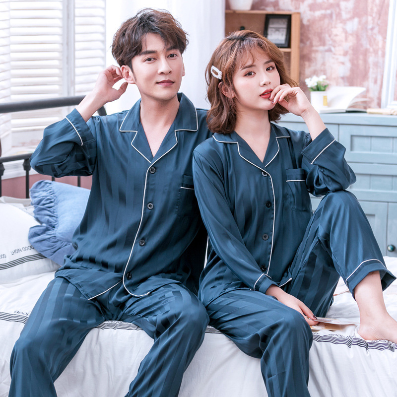 Lovers Pajamas Set Sleepwear Satin Home Dressing Clothes Negligee Full Sleeve Turn-Down Collor Gown Solid Colour Nightgown