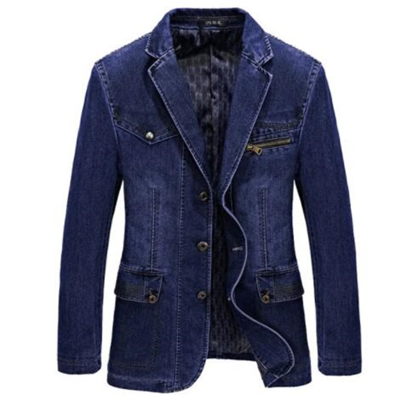 Brand Men Denim Blazer Jacket Spring Fashion Cotton Casual Suit Jackets Male Slim Fat Coat Blazer Men Blazer Masculino 3XL BF805