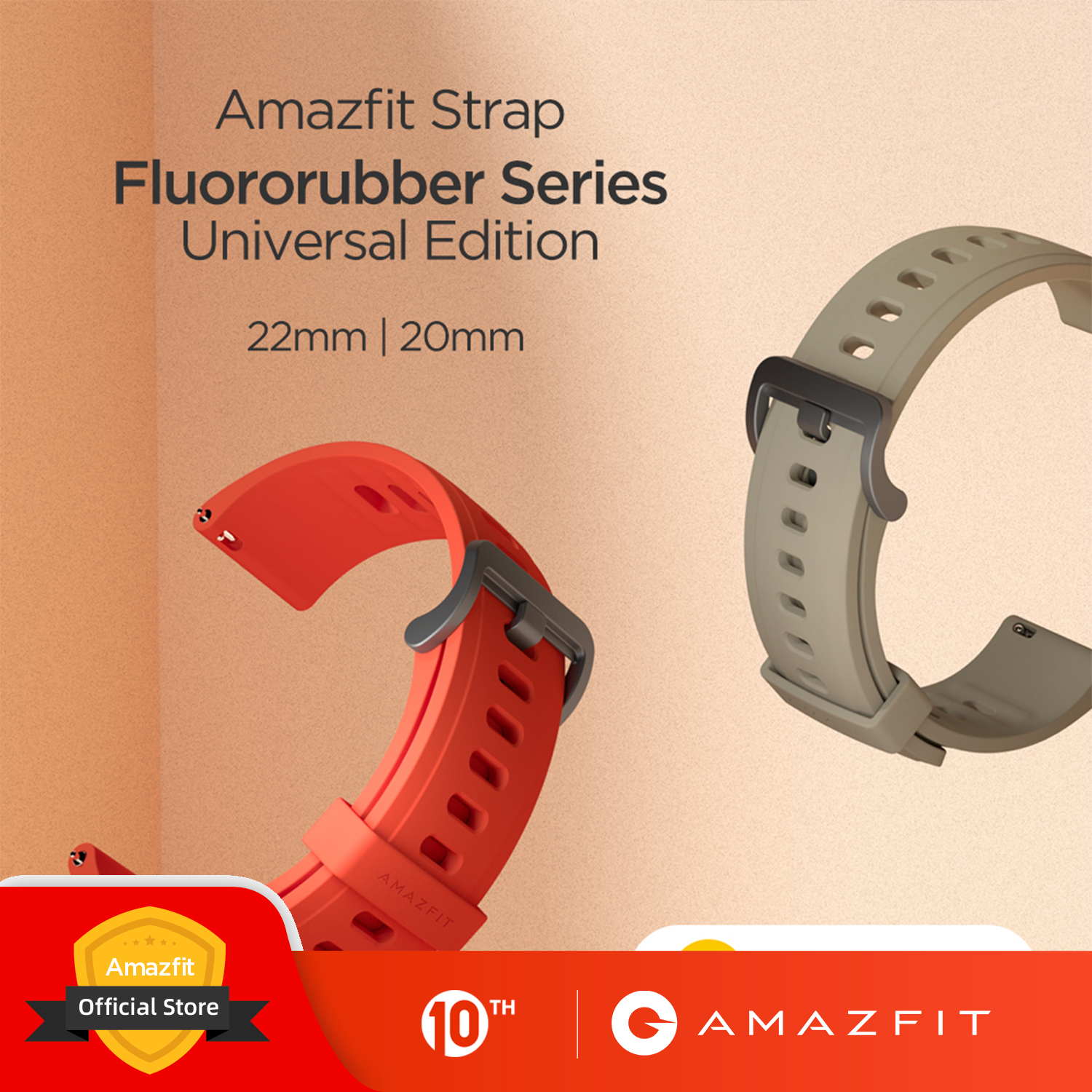 Amazfit Official Straps Fluororubber Strap For Stratos Pace GTR 47mm