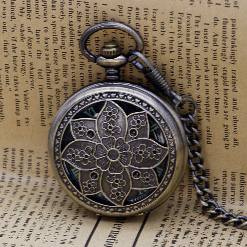 Steampunk Skeleton Mechanical Pocket Watch Men Antique Necklace Pocket  Fob Watches With Chain Unisex Watch Gift Clock PJX1310