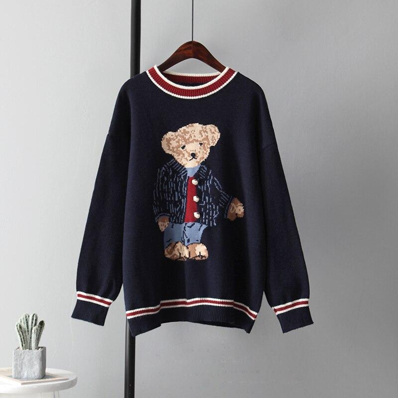 Mozuleva Neue Gedruckt Cartoon Bär Pullover Weibliche Nette Mode Warme Gestrickte Faule Außerhalb Tragen für Herbst Winter