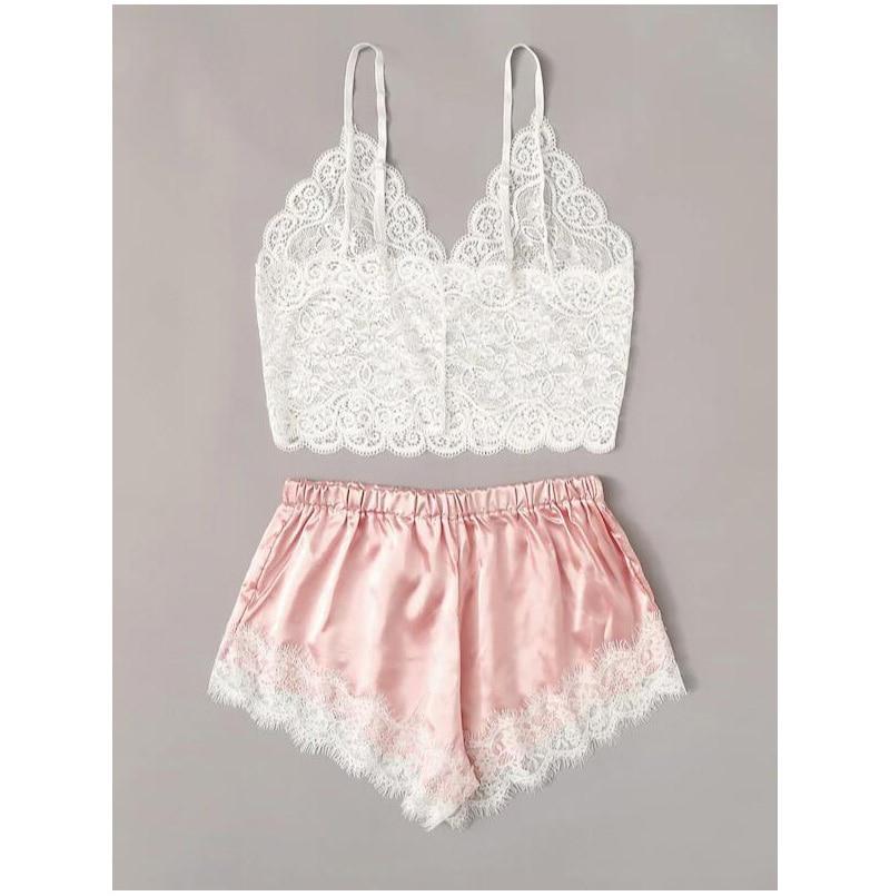 2PCS/set Womens Lace Pajama Set Sleeveless Crop Tops Elastic Bowknot Shorts Ladies Solid Sleepwear Summer Pajama Set