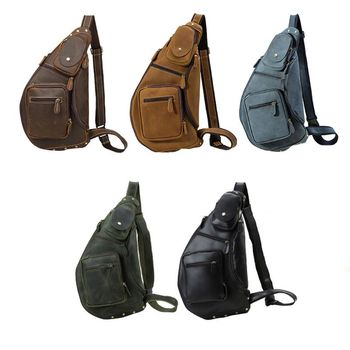 Men Vintage Leather Crossbody Sling Shoulder Bag Chest Pack Sports Handbag 35EF