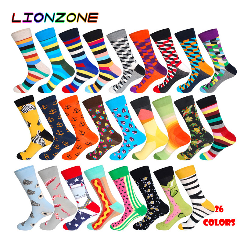 LIONZONE 1Pair Cotton Men Socks Quality Brand Fall Colorful Pattern Coolmax Funny Happy Dress Wedding Male Crew Socks Plus Size