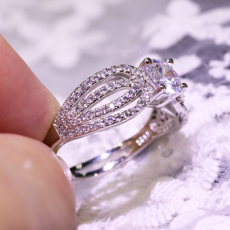 925 Silver Color VVS1 Diamond 2 Carats Ring for Women Luxury pure natural Bizuteria Gemstone S925 Engagement Irng Jewelry