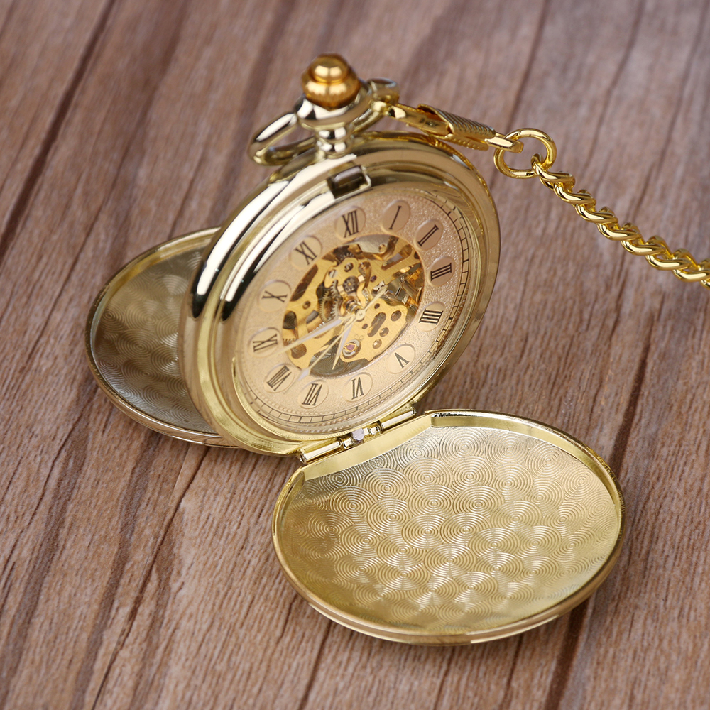 New A Lot Golden Pocket&Fob Watches Full Double Hunter Mechanical Pocket Watches Engraved Men Women Pocket Watch Chain