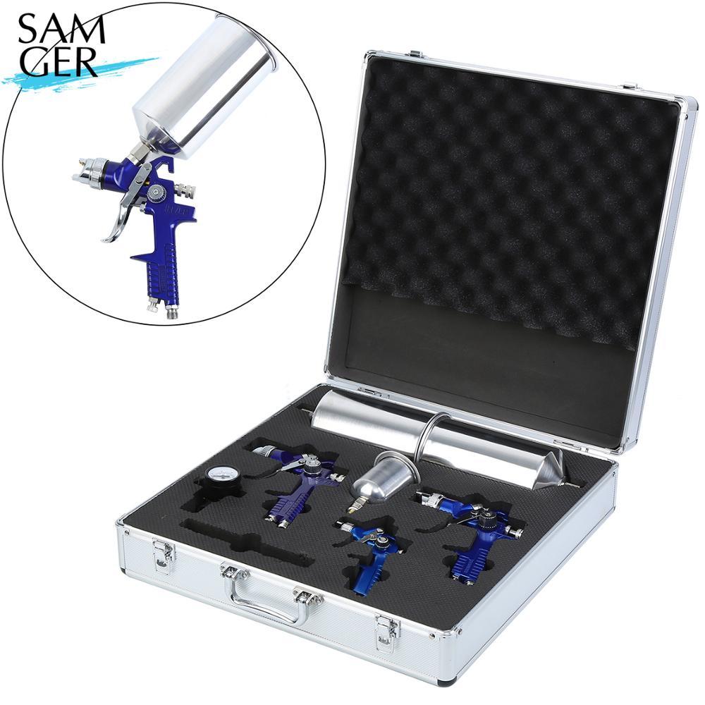 Samger 3X HVLP Paint Spray Gun 0.8mm/1.4/1.7mm Airbrush Kit Air-Brush Set Car Detail Painting Decorating Spray Gun
