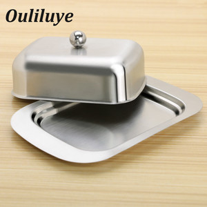 Stainless Steel Butter Dish Box Container Cheese Server Storage Keeper Tray with Gold Lid Fruit Salad Cheese Dish Box Case(China)