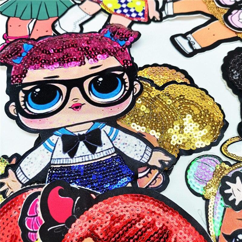 Мультяшные нашивки женские модные куклы лол для девочек Милая Модная Кукла-мальчик вышивка на одежду ручная работа украшение одежды Блестки Ткань
