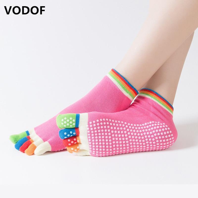 Women Dance Socks Anti-slip Five Fingers Backless Cotton Silicone Non-slip 5 Toe Winter Female Socks Ballet Gym Calcetines Dedos