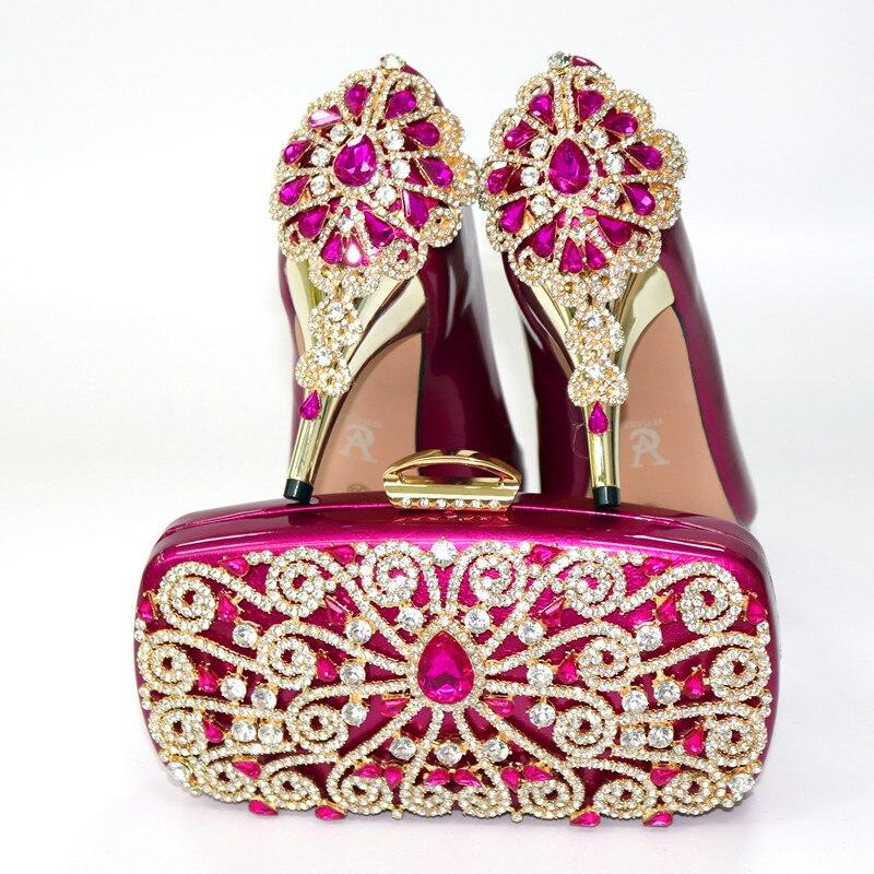 Горячая Распродажа; женские туфли лодочки винного цвета; комплект из сумочки с украшением в виде кристаллов; модельные туфли в африканском ... - 2